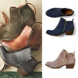 Women Leather Suede Booties Low Heel Ankle Boots Vintage Mot