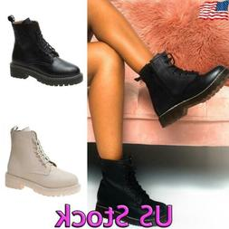 Women Low Block Heel Combat Boots Military Motorcycle Boots