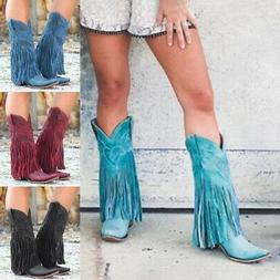 Women Low Heel Boots Fringed Cowboy Motorcycle Pointed Tasse