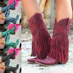 Women Low Heel Boots Fringed Cowboy Motorcycle Boots Shoes P