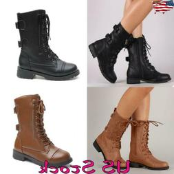 Women Military Round Toe Boot Low Shoes Heel Motorcycle Lace
