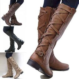 Women Motorcycle Punk Riding Shoes Flat Low Heel Knee High L
