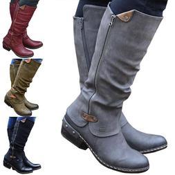 Women Retro Side Zipper Mid Calf Boot Ladies Low Block Heel