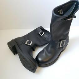 XELEMENT WOMEN'S 6 M Black Leather Buckle Mid Calf Boots Mot