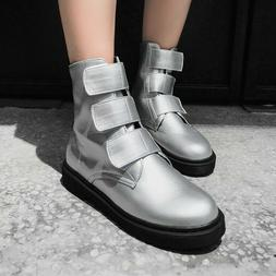 Women's Ankle Boots Low Heel Motorcycle Booties Round Toe Sh