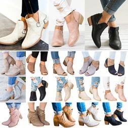 Women's Ankle Boots Low Mid Block Heel Booties Ladies Chunky