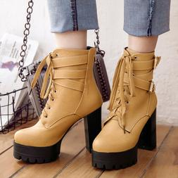 Women's Ankle Boots Military Motorcycle Lace Up Combat Chunk