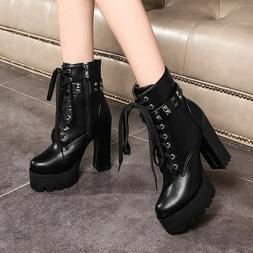 Women's Ankle Motorcycle Boots Platform Rivets High Heel Pun