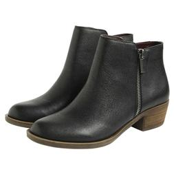 Kensie Women's Black Leather Ghita Short Ankle Boots ~ Vario