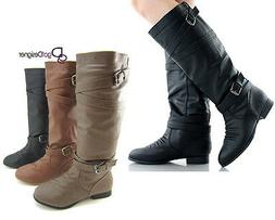 Women's Fashion Shoes Boots Slouch Knee High Flat Motorcycle