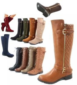Women's Fashion Zipper Low Heel Riding Knee High Boots Shoes