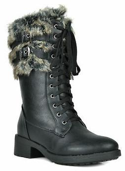 Womens Winter Snow Boots Fur Lined Mid-Calf Cold Weather Mot