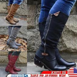 Women's Flat Low Heel Knee High Mid Leg Calf Boots Motorcycl