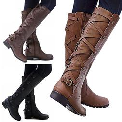 Women's Flat Low Heel Knee High Lady Leg Calf Boots Motorcyc
