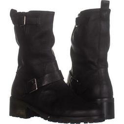 Cole Haan Women's Hemlock Motorcycle Boot, Black Leather, 9