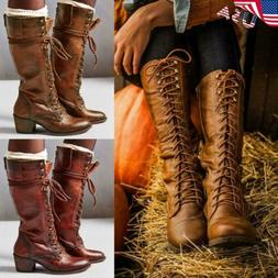 Women's Knight Riding Boots Leather Mid Calf Knee High Motor
