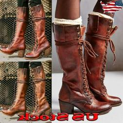 Women's Lace Up Retro Mid Calf Boots Combat Shoes Strappy Mo