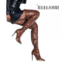 Women's Leopard Leather Over The Knee <font><b>Boots</b></fo