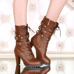 Women's Mid Calf Boots High Heel Military Buckle Motorcycle