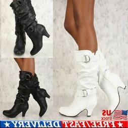 Women's Mid Kitten Heel Slouch Knee High Boots Riding Motorc