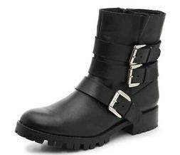 STEVE MADDEN Women's MING Leather Motorcycle Bootie size: 6.
