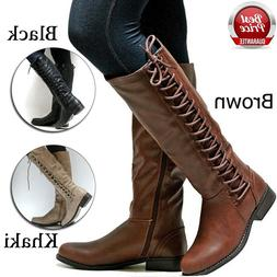 Women's Motorcycle Boots Over The Knee Shoes Leather Lace Up
