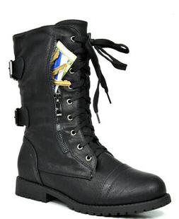 Women's New Ladies Military Lace up Mid Calf Side Pocket Com