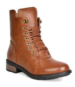 DREAM PAIRS Women's Panther Camel Mid Calf Military Combat B
