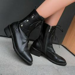 Women's Punk Motorcycle Boots Lace-up Ankle Booties Low Heel