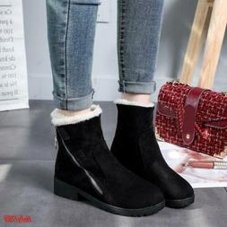 Women's Round Toe Zip Fur Lined motorcycle Ankle Boots faux