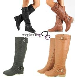 Women's Shoes Boots Knee High Riding Motorcycle Slouchy Flat