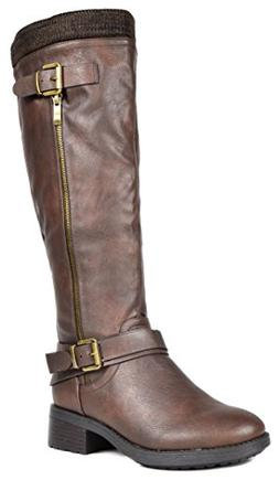 DREAM PAIRS Women's Turtle Brown Knee High Motorcycle Riding