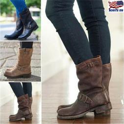 Women's Winter Buckle Mid Calf Knee Boots Flats Leather Slip