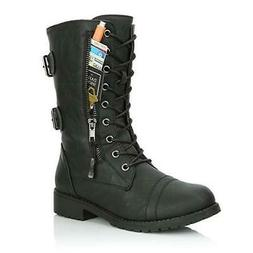 Women's Zip Buckle Military motorcycle Combat Boots Pocket L