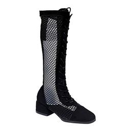 Cenglings Women Sexy Hollow Out Knee High Boots Low Chunky H