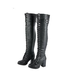Women Solid Knee High Boots Motorcycle Leather Riding Comfor