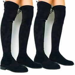 Women Thigh High Boots Over Knee Zip Flat Heel Winter Shoes