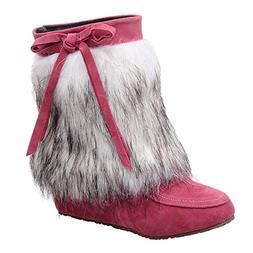 Mysky Women Vintage Suede Plush Round Toe Wedges Shoes Ladie