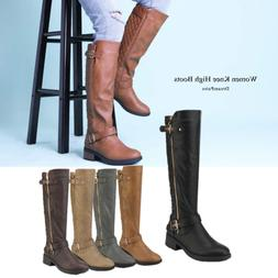 Women Wide Calf Low Heel Knee High Ladies Side Zip Motorcycl