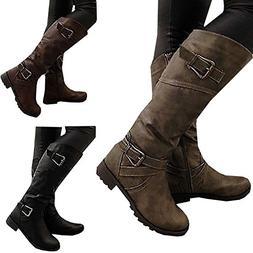 maket Women Fashion Winter Wide Calf Low Heel Belt Buckle Ri
