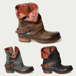 women zipper leather combat biker boots lady