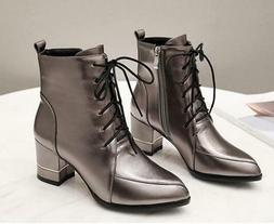 Womens Ankle Boots Pointy toe Block Heel Lace Combat Booties