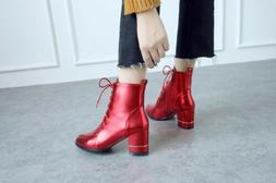 Womens Ankle Boots Pointy toe Block Heel Lace-Up Combat Boot