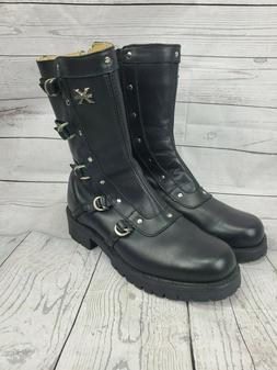 Xelement Womens Black Leather Motorcycle Zip Strap Stud Boot