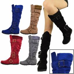 Women Boots Knee High Mid Calf Military Flat Adjustable Stra