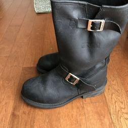 Xelement Womens Clasic Motorcycle Biker Boots Leather Size 9