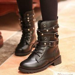 Womens Combat Ankle Boots Strap Motorcycle riding Military T