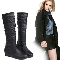 Womens Knee High Booties Motorcycle Flat Low Heel Boots Ridi