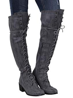 Syktkmx Womens Lace Up Stud Cuff Knee High Motorcycle Riding