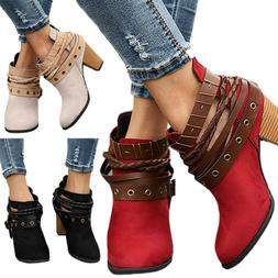 Womens Retro Buckle Ankle Boots Low Mid Block Heel Martin Sh